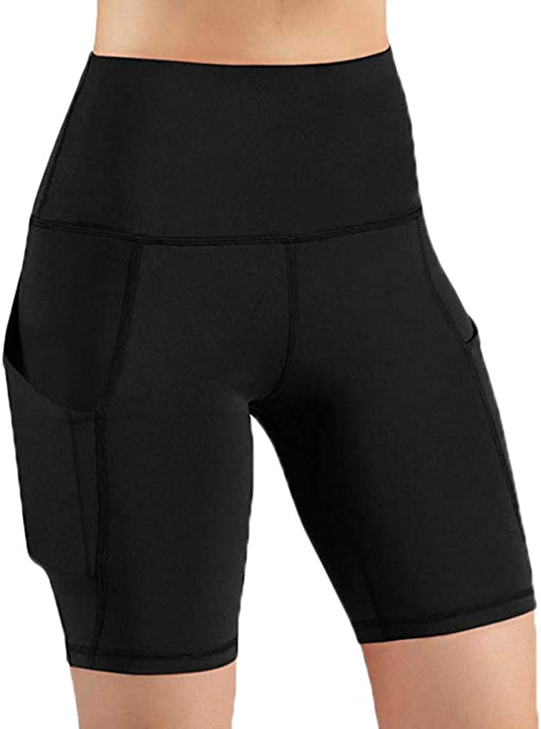 Fastbot women's Shorts Short Leggings Pants with Pocket Yoga Workout Running Athletic Gym High Waist Lace Stretch Active Black