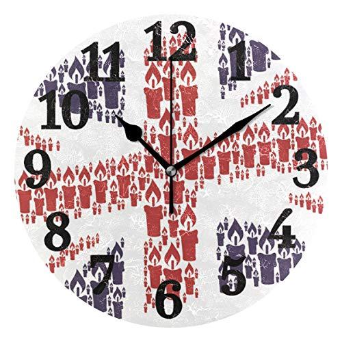 Ahomy Union Jack Kerze Icons Zahlen Wanduhr 24cm Runde Uhr leise Nicht tickend batteriebetrieben leicht lesbar für Zuhause Büro Schule