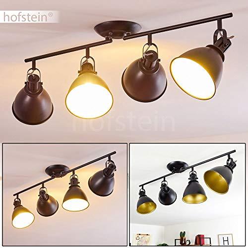 Deckenleuchte Koppom, Deckenlampe aus Metall in Schwarz/Gold, 4-flammig, mit verstellbaren Strahlern, 4 x E14-Fassung max. 40 Watt, Spot im Retro/Vintage Design, für LED Leuchtmittel geeignet