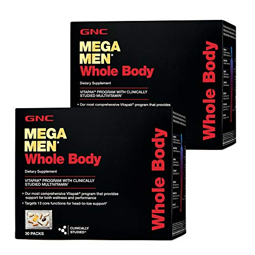 GNC Mega Men Whole Body Vitapak, Twin Pack, 30 Packs per Box, Supports Wellness and Performance