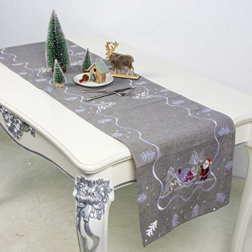 ETbotu Mantel de Navidad, paño Bordado, Camino de Mesa, decoración ...