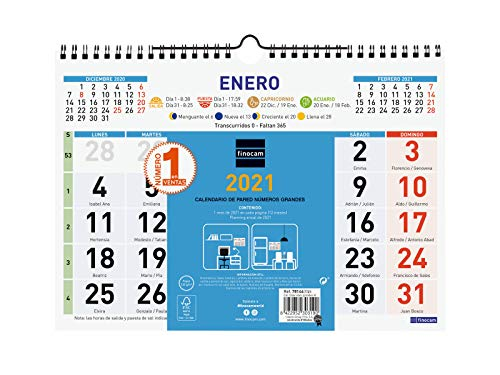 Finocam - Calendario de pared 2021 Números grandes Color Español