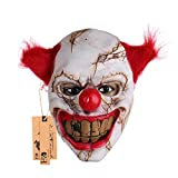 Halloween Latex Clown Mask With Hair for Adults,Halloween Costume Party Props Masks (red hair)