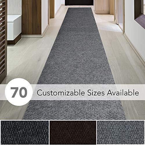 iCustomRug Spartan Weather Warrior Duty Indoor/Outdoor Utility Berber Loop Carpet Runner, Area Rugs, 3ft,4ft,6ft Widths 70 Custom Sizes with Natural Non-Slip Rubber Backing 3' X 20' in Grey