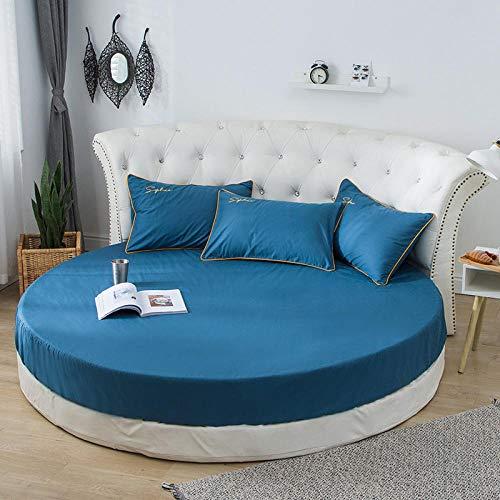 Care - Sábana bajera ajustable de polialgodón para cama de 2,2 m (algodón supersuave, algodón de una sola pieza, redondo), color azul