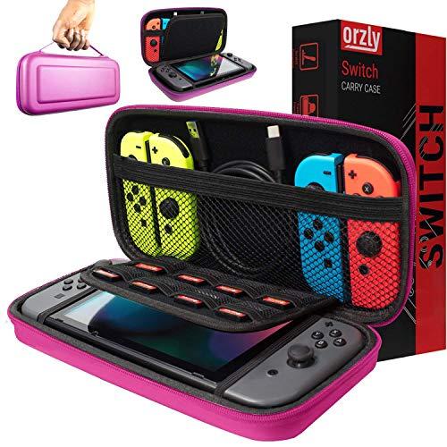 Orzly Tragetasche kompatibel mit Nintendo Switch – Aufbewahrungstasche / - Hartschalen Case/Cover/Hülle/Schutzhülle für die Verwendung mit der Nintendo Switch Konsole & Accesoires in ROSA