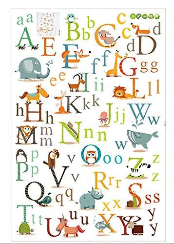 QIA Alphabet ABC Enfants Stickers Muraux Bâton Stickers muraux Amovibles pour Chambre d'enfant Chambre d'enfant (2pcs)