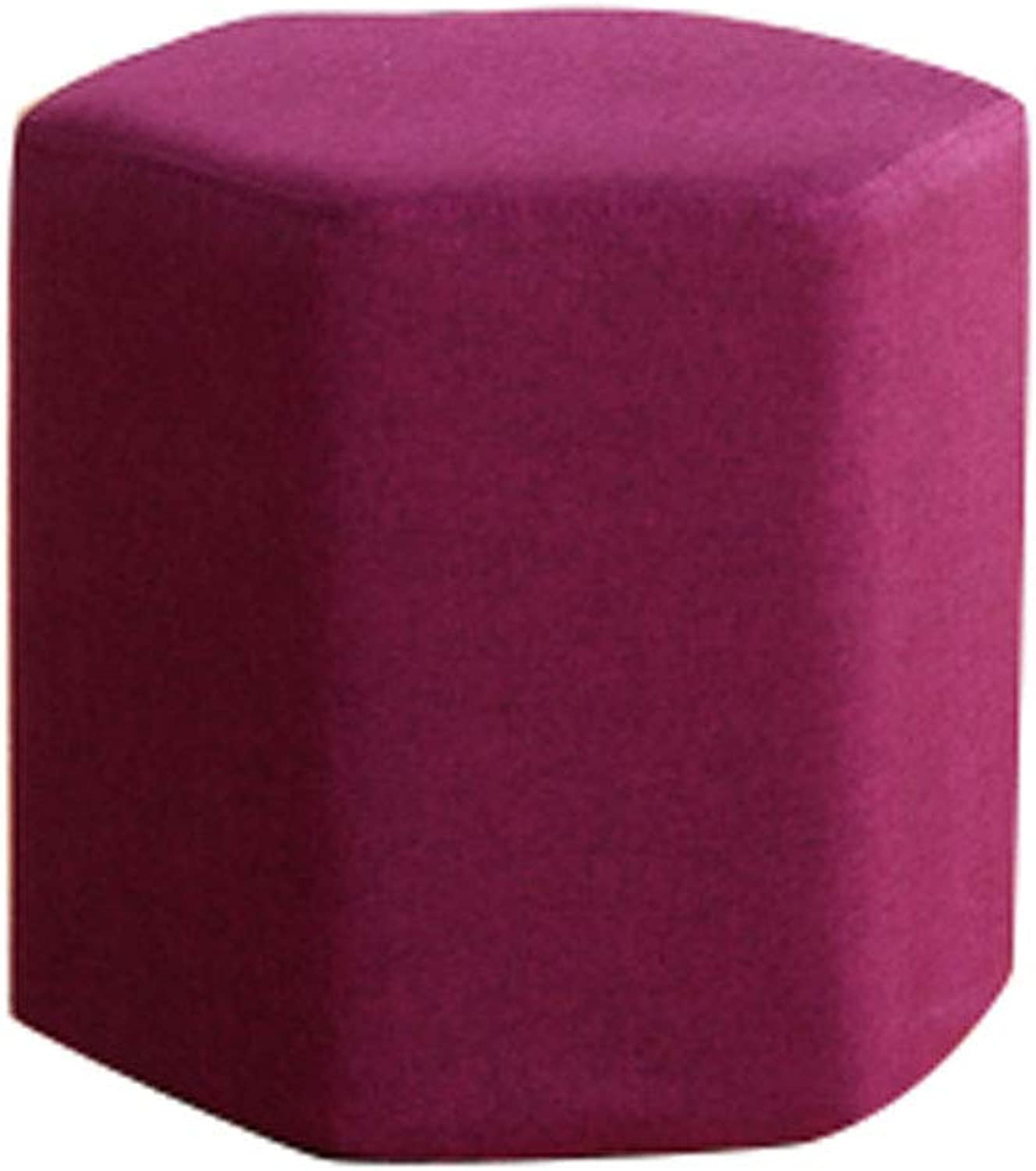 European Simple Solid Wood Fabric shoes Change shoes Short Stool Home Living Room Sofa Six Sides Prismatic Seat Stool Stool (color   Wine Red, Size   30  30cm)