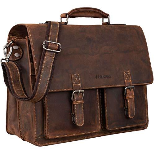 STILORD 'Clarence' Leder Businesstasche Männer Vintage Aktentasche Große Umhängetasche für 15.6 Zoll Laptop und Breite DIN A4 Ordner Trolley Aufsteckbar, Farbe:Sierra - braun