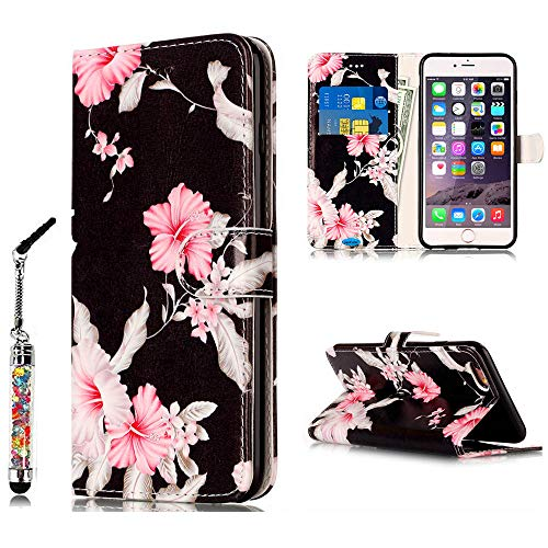 JanCalm for iPhone 6S Wallet Case,iPhone 6S Case,6S Case,iPhone 6 Case,Pattern Premium PU Leather (Card/Cash Slots) Stand Flip Cover for iPhone 6/6S (4.7 inch) + Crystal Pen (Black/Flower)