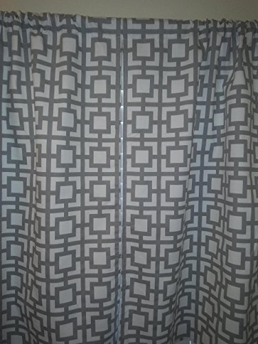 "Grey Geometric trellis, Grey & white square shapes, 2 panels/Tiers - Window/Kitchen, Bath, Laundry, basement, office kids daycare schools, gray Kitchen cafe curtains 36""L"