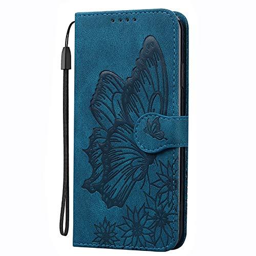 TOPOFU Funda para Sony Xperia 10 III, [Vintage de Billetera Cuero de la PU] Carcasa Magnética con Tapa Abatible y Ranuras para Dinero y Tarjeta de Crédito-Azul