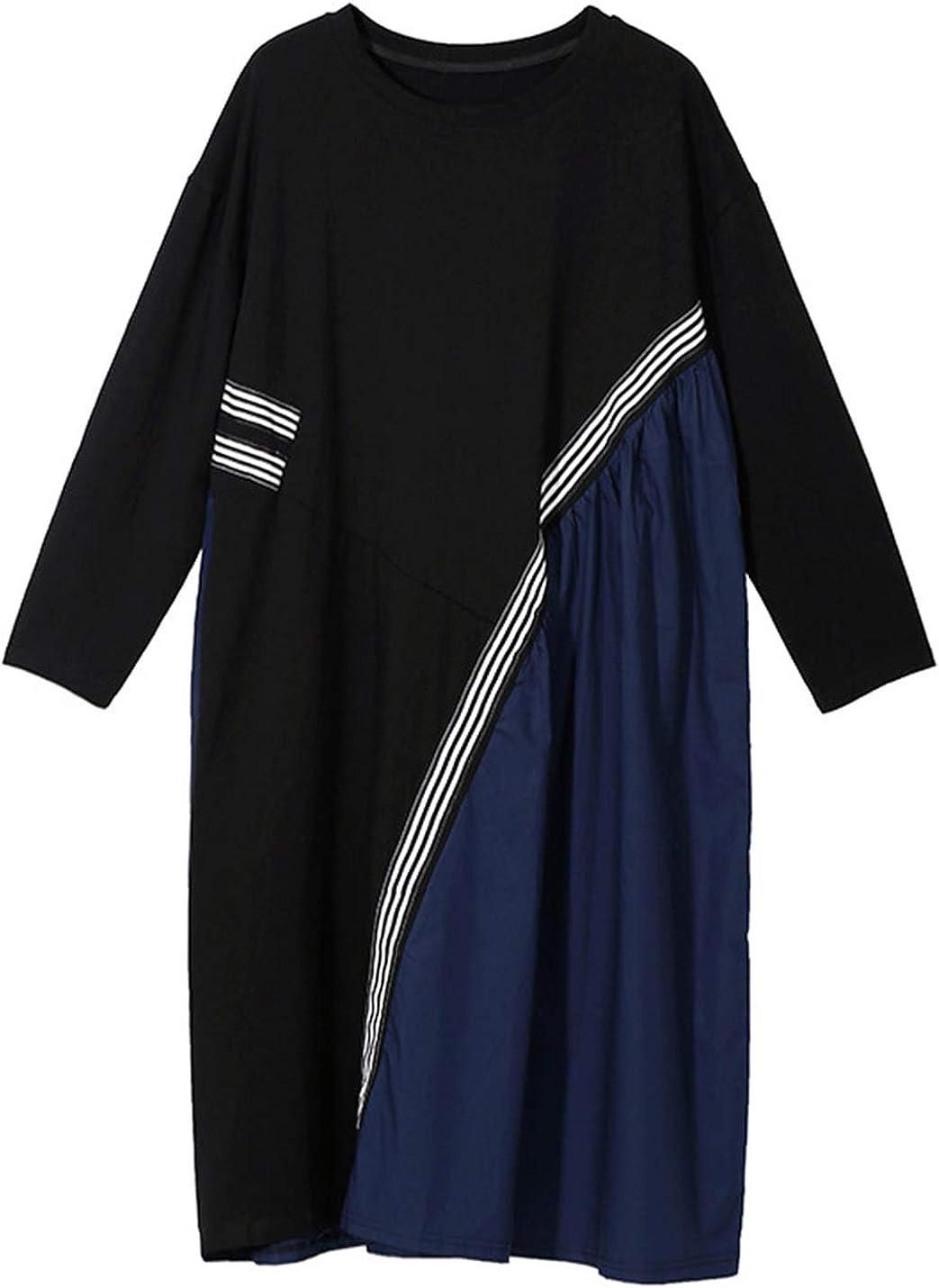 Omoone Women's Oversize Patchwork Mid Long Asymmetrical Tunic Dress Tops