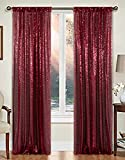 AMZLOKAE Curtains 2 Panels 2FTx7FT Wine Glitter Backdrop Curtains Burgundy Sequin Shower Curtain 84 inch Sequin PhotographyBackdrop for Weddings Sparkle Party Backdrop