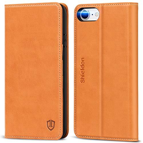 SHIELDON Hülle für iPhone SE 2020, Handyhülle iPhone 8 [Erstklassiges Rindsleder] [Schützt vor Stoß] [Kartenfach] [Magnetverschluss] [Stand], TPU Schutzhülle Ledertasche für iPhone 7/8/SE2 (4,7) Braun