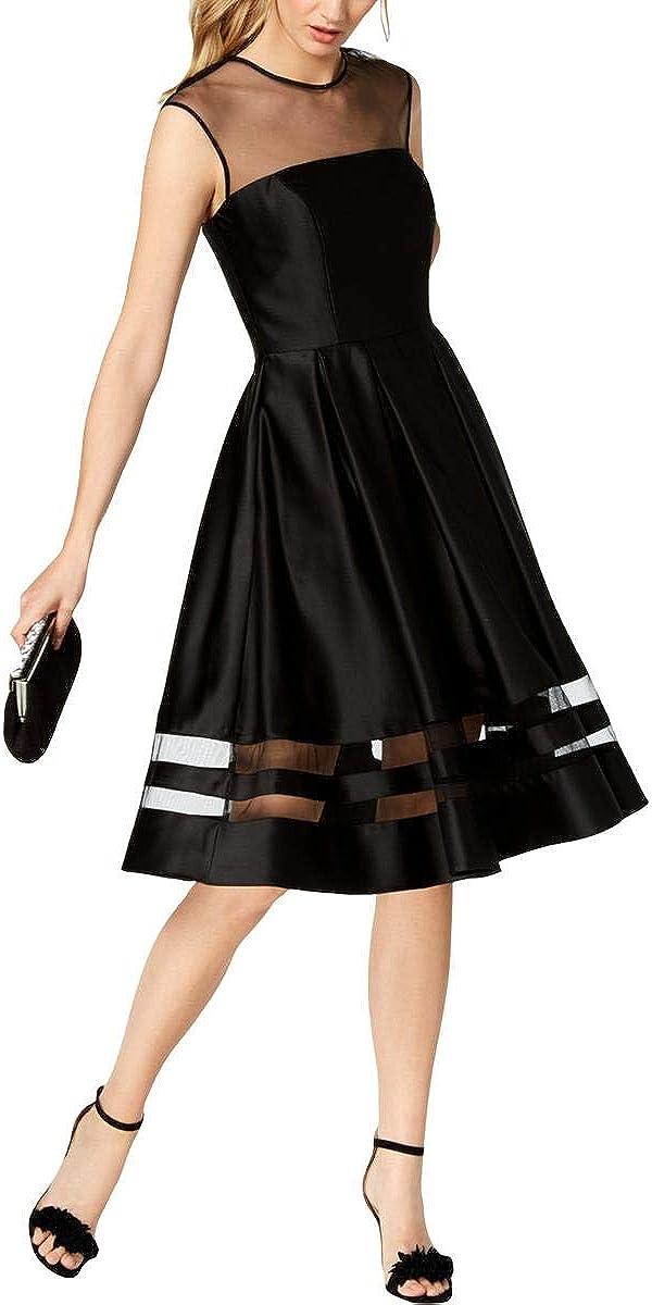 BETSY & ADAM Women's Satin Illusion Fit & Flare Dress