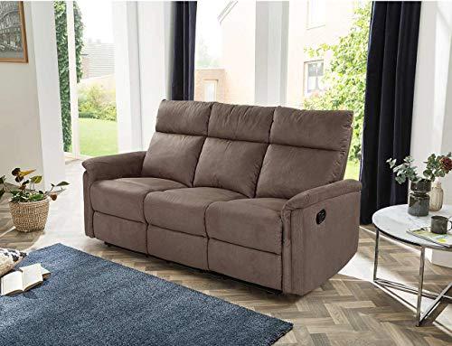 lifestyle4living 3 Sitzer Sofa in braunem Microfaser mit praktischer Relaxfunktion, verstellbares Funktionssofa zum relaxen und genießen