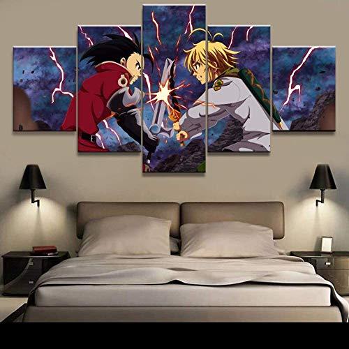 5 piezas Los siete pecados capitales Melioda Cuadros en Lienzo arte decoración del hogar lienzo imagen animación pintura póster arte de pared para lienzo del hogar, sin marco,30x40x2 30x60x2 30x80x1