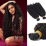 BASE HAIR Afro Kinky Curly I tip Hair Extensions, Virgin Brazilian Keratin Pre-bonded hair, Natural Black color Stick I-tip hair for Women 100g 1g/strand
