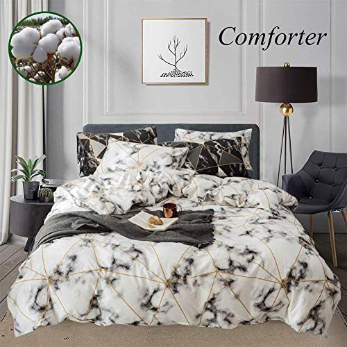 Wellboo White Marble Comforter Sets Triangle Gold Cotton Queen Full Bedding Plaid Square Geometric Abstract Texture Quilts Men Women Adult Gingham Checkered Soft Luxury Warm 1 Comforter 2 Pillowcases