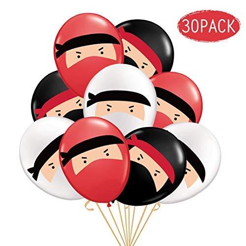30-Pack Ninja Luftballons, rot-schwarz-weiße Bedruckte Latexballons zum Geburtstag, Ninja-Kriegerparty, Karate, Judo, Martial Arts-Themenparty