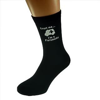 Trust me I'm a Paramedic & Ambulance Image Design Mens Black Cotton Rich Socks