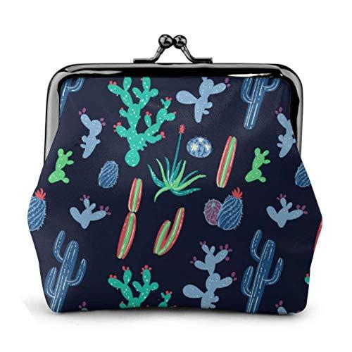 Monedero Cactus y suculentas sobre Fondo Negro Hebilla de Ve
