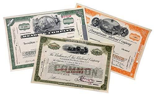 IMPACTO COLECCIONABLES Alte Aktien, Satz von 3 ursprünglichen amerikanischen Aktien