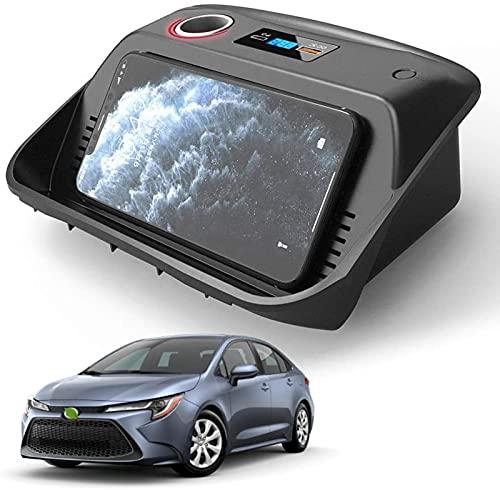 Cargador de Coche Inalámbrico para Toyota Corolla 2019-2021 15W Cargador de Teléfono de Carga Rápida Pad con Puerto USB QC3.0 de 18W y Puerto PD Panel de Accesorios de Consola Central Toyota Corolla