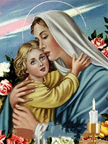 Virgen María figura religiosa 5D Kit de pintura de diamante para manualidades DIY Crystal Rhinestone bordado de punto de cruz artes manualidades lienzo pared decoración 40 * 50cm