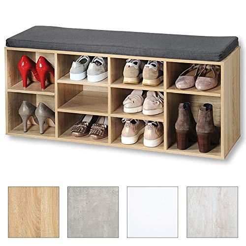 Kesper Shoe Cabinet with Seat Cushion, Wood Effect, Sonoma Oak Look, 103.5 x 31 x 12 cm
