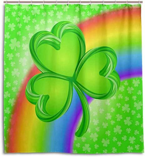 JOOCAR Design douchegordijn, St Patricks dag Ierse klaver bladeren op ketting en regenboog met wolken regen, waterdichte doek stof badkamer Decor Set met haken