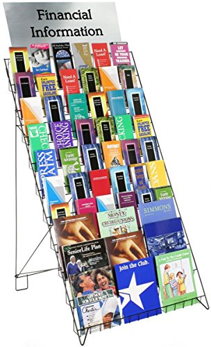"""Wire Display Rack for Books, Magazines and CDs, 29""""w Floor-Standing Fixture with 10 Display Tiers (Black)"""