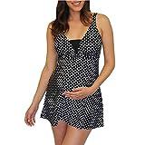 Bañador Premama Natacion Traje de baño Embarazada 2 Piezas Bikinis Embarazo Lunares Maternidad Tankini Ropa de Baño/XL