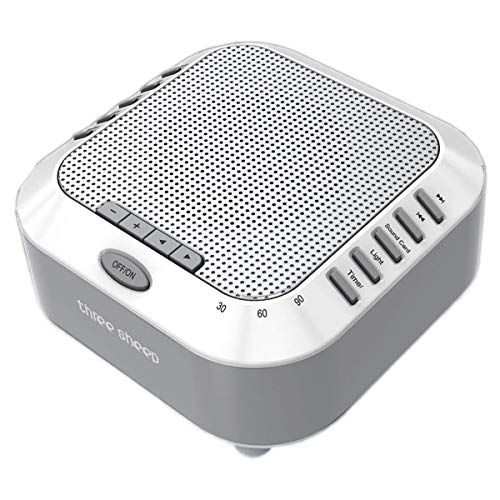 three sheep White Noise Machine Sound Machine, Music Player with Night Light, Preset 5 Soothing Sounds, Timer, and Rechargable Battery (Sliver)