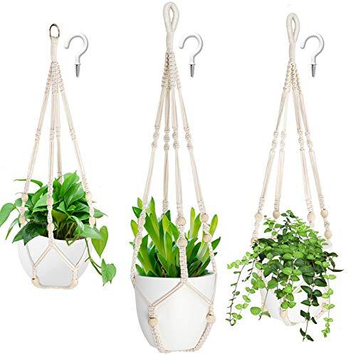 AerWo 3 Stück Makramee Blumenampel Baumwollseil Blumenampeln zum Aufhängen+3 pack Haken,hängende blumentöpfe,Makramee hängend Pflanzenaufhänger mit Holzperlen für Innen-Außen-Wohnkultur (3 Größen)