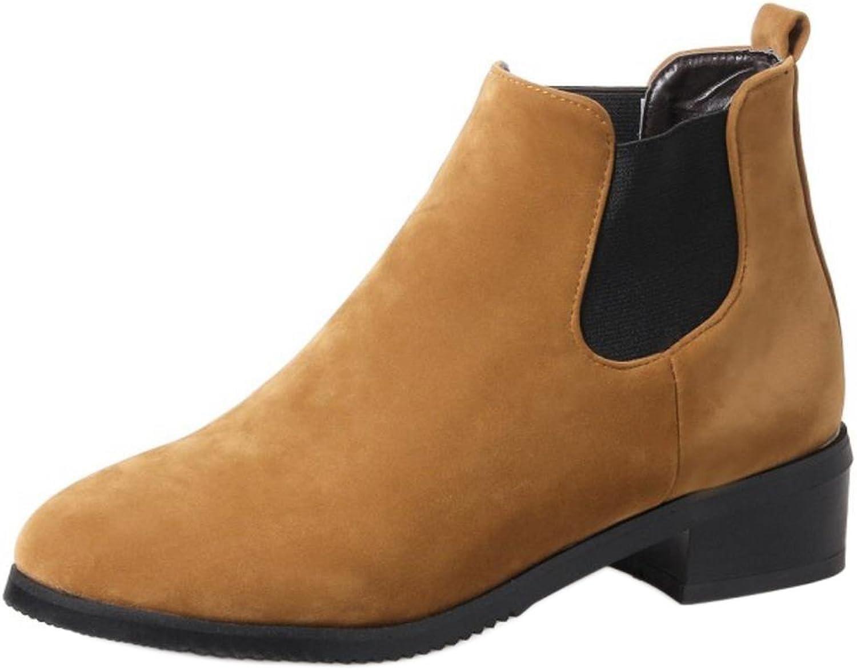KemeKiss Ladies Casual Low Heel Chelsea Booties Elastic Slip On Boots