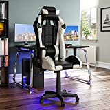 Vida Designs Racing Nitro Gaming Computer Chair, White & Black, Office Executive Adjustable