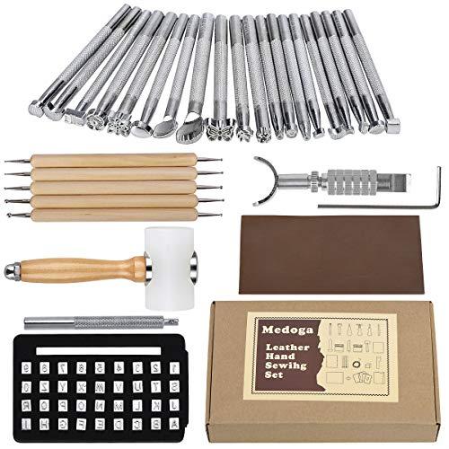 29-teiliges Leder-Prägewerkzeuge, manuelles Handwerk, Schnitzset, verschiedene Formen, Stempel, Sattelherstellung, DIY Stanzer, Holzhammer, Prägewerkzeug, Schrägwerkzeug-Set