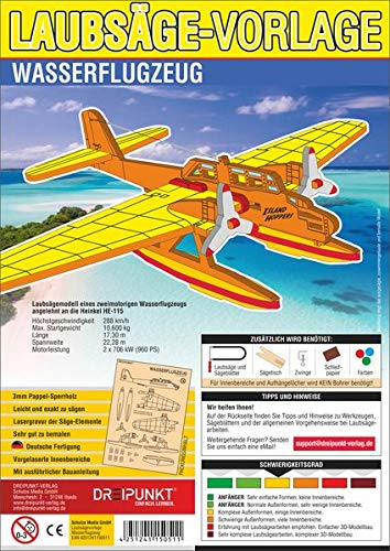 Laubsägevorlage Wasserflugzeug: Laubsägevorlage für ein zweimotoriges Wasserflugzeug aus hochwertigem 3mm Pappelsperrholz