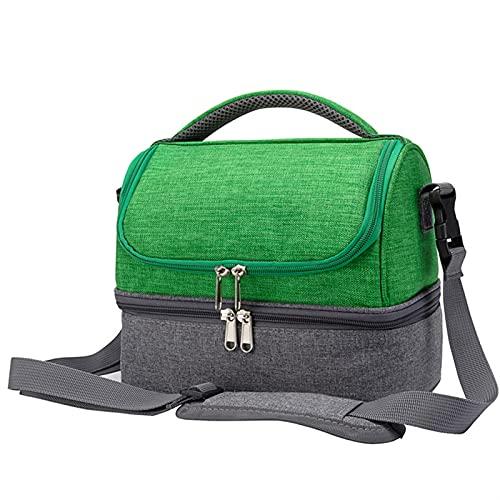 LCISCOUP Bolsa Almuerzo Mujeres Portátiles Bolsas de Almuerzo aisladas for niños Frío térmico Picnic Bag Bolsos de Enfriador de Comida (Color : Green)
