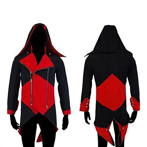 Chaqueta con capucha Rulercosplay para disfraz de Connor Kenway de Assassins's Creed III, de algodn negro/rojo S