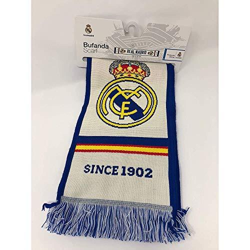 Bufanda Real Madrid - Telar color Blanco   Azul -  EL MEJOR CLUB DEL MUNDO . 140 X 20cm