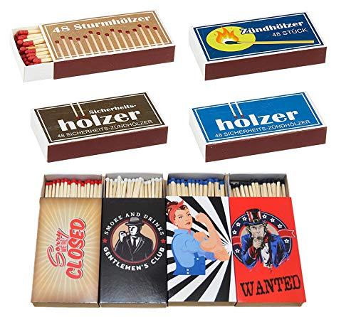 jameitop®🔥 8 x 45er Schachteln Streichholzschachteln, 10cm Vintage Werbung Sturmhölzer Retro Nostalgie Streichhölzer Zündhölzer