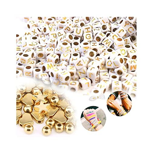 Souarts - Pulsera decorativa con perlas espaciadoras chapadas en forma de estrella con perlas para la fabricación de pulseras de joyas, letras y línea, 251 unidades