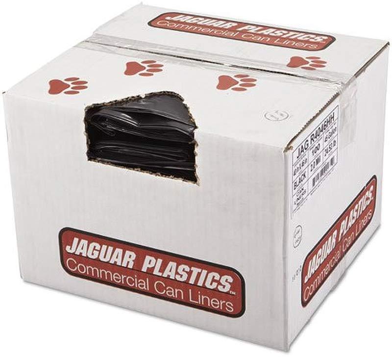 Jaguar Plastics R4046HH Can Liners 2 Mil 45 Gallon 40 X 46 Black 100 Carton