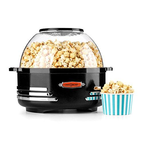 OneConcept Couchpotato Popcornmaschine im stilvollen Retro-Design, Retro Edition, integriertes Rührwerk, gleichmäßige Hitzeverteilung, kurzes Aufheizen, antihaftbeschichtet, bis zu 5,2 Liter, schwarz