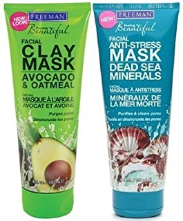 Freeman Facial Mask Variety Bundle, 6 fl oz, Pack of 2, 1 Tube Avocado & Oatmeal Facial Clay Mask and 1 Tube Dead Sea Mine...