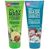 Freeman Facial Mask Variety Bundle, 6 fl oz, Pack of 2, 1 Tube Avocado & Oatmeal Facial Clay Mask and 1 Tube Dead Sea Minerals Facial Anti-Stress Mask