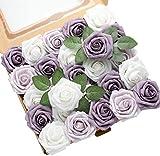 DerBlue - 60 rose artificiali in schiuma artificiale per decorazione fai da te per bouquet di nozze, centrotavola, composizioni per feste e baby shower, decorazioni per la casa, 60 pezzi